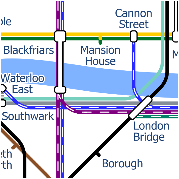 London Layout map of Blackfriars Bridge station over river Thames