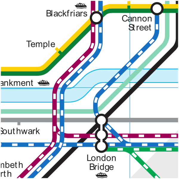 Official Tfl map of Blackfriars Bridge station over river Thames