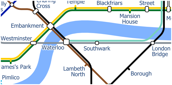 London Layout map of Jubilee line from Westminster to London Bridge