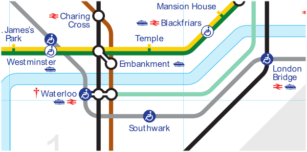 Official TfL map of Jubilee line from Westminster to London Bridge
