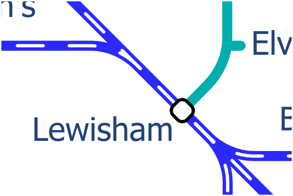 Simplified Design for suburban rail lines around Lewisham station
