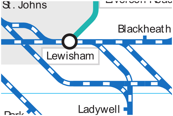Official Tube and rail map showing suburban rail lines around Lewisham station