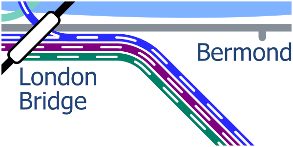 London Layout map showing lines to the east of London Bridge Station