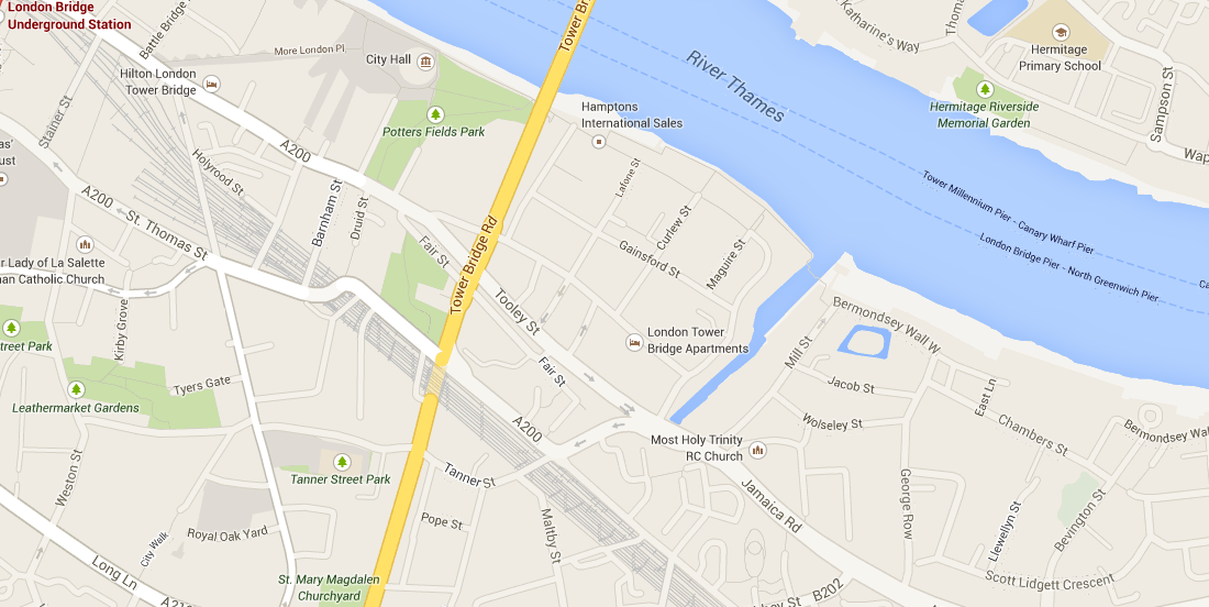 Geographic map of London bridge eastern approach