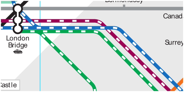 Official TfL map of rail approach to London Bridge Station