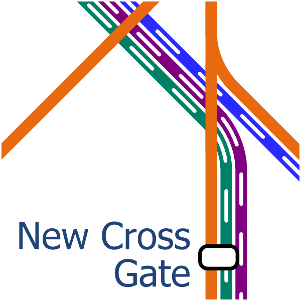 Alternative design for rail lines around New Cross