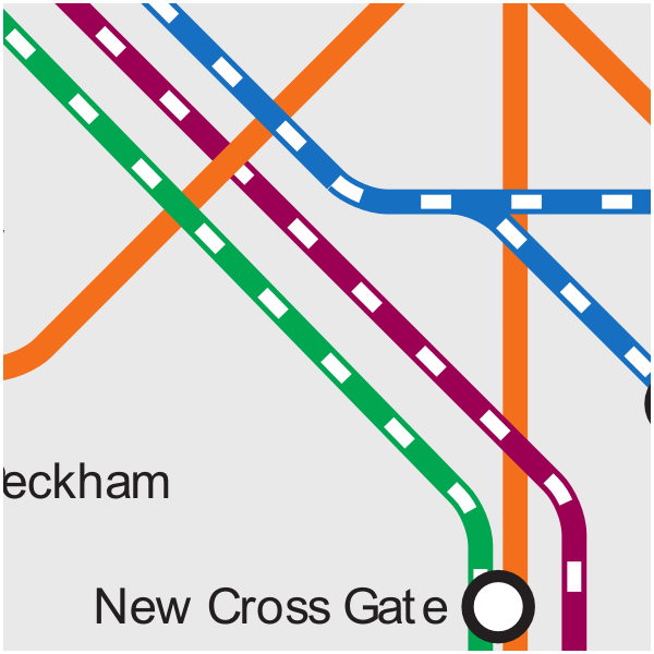 London Tube and Rail map showing rail lines around New Cross