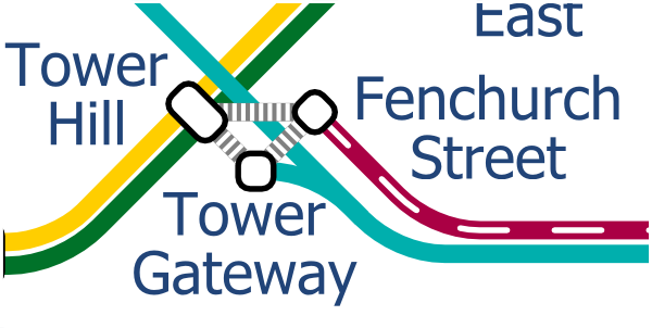 London Layout map of Tower Hill stations