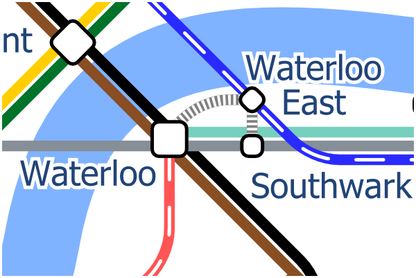 London Layout map showing alternative interchange symbol to better represent the Waterloo station complex