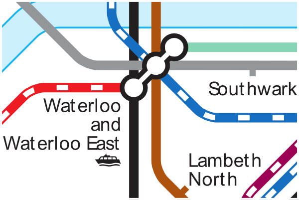 TfL tube and rail map showing connections at Waterloo station