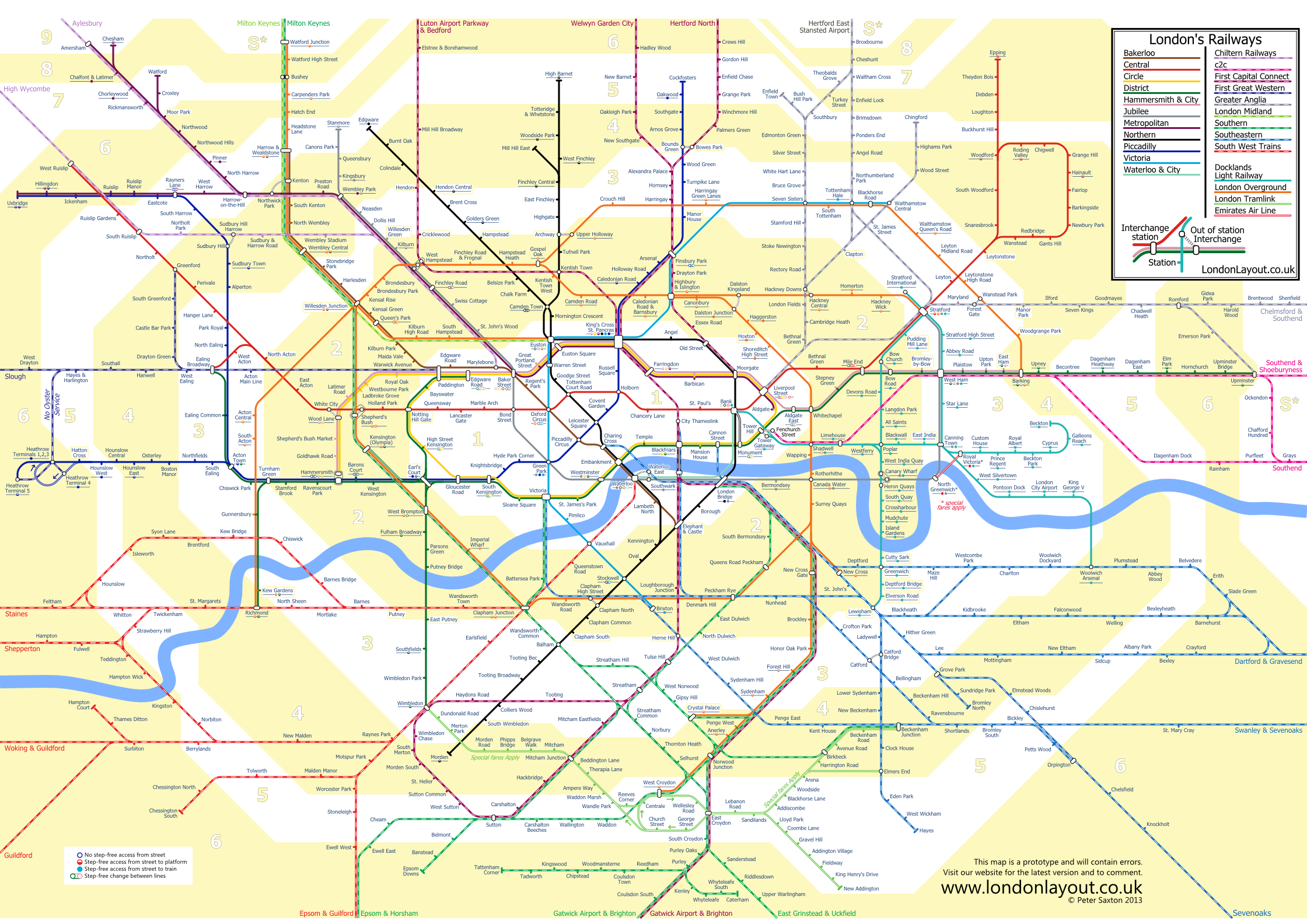 tube and rail map showing travel zones