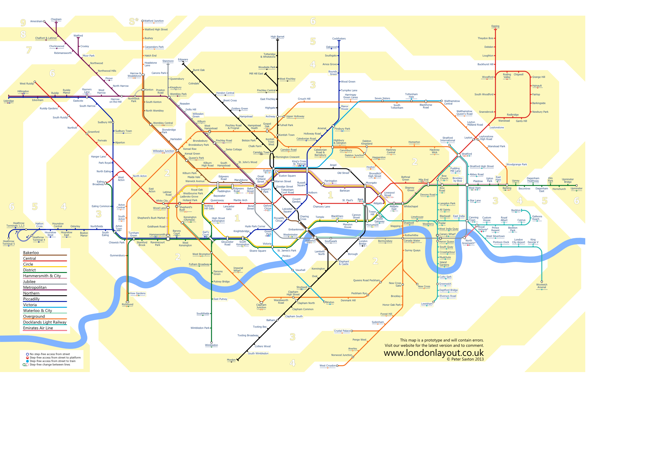 Underground map showing travel zones